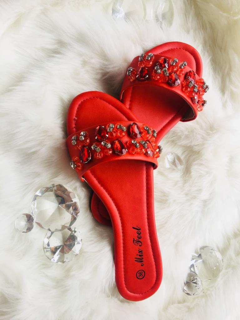 Bandage slippers Rood