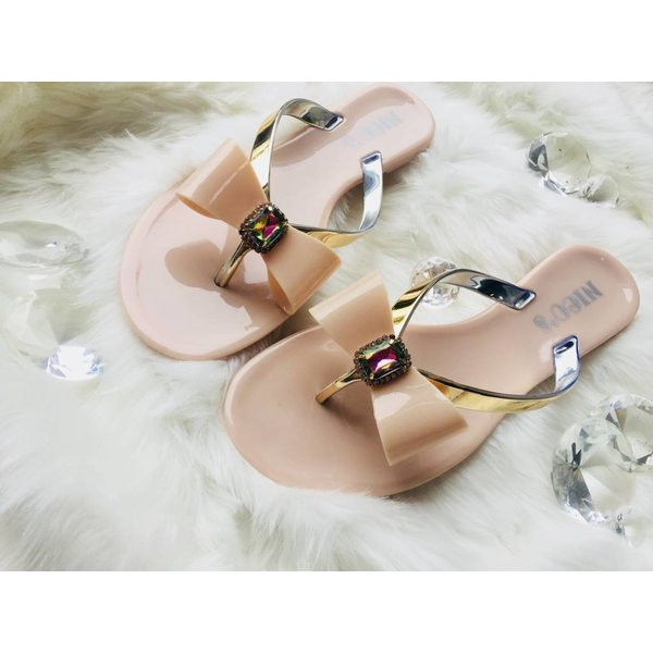 Slippers met strik Beige