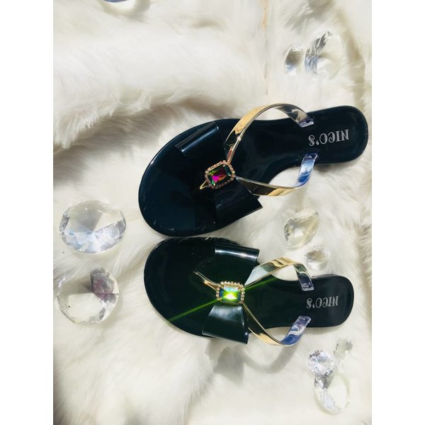 Slipper with bow Black