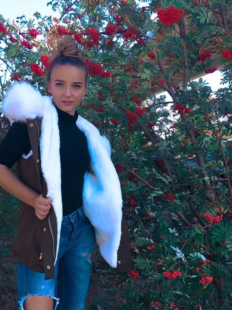 Fur parka bodywarmer White