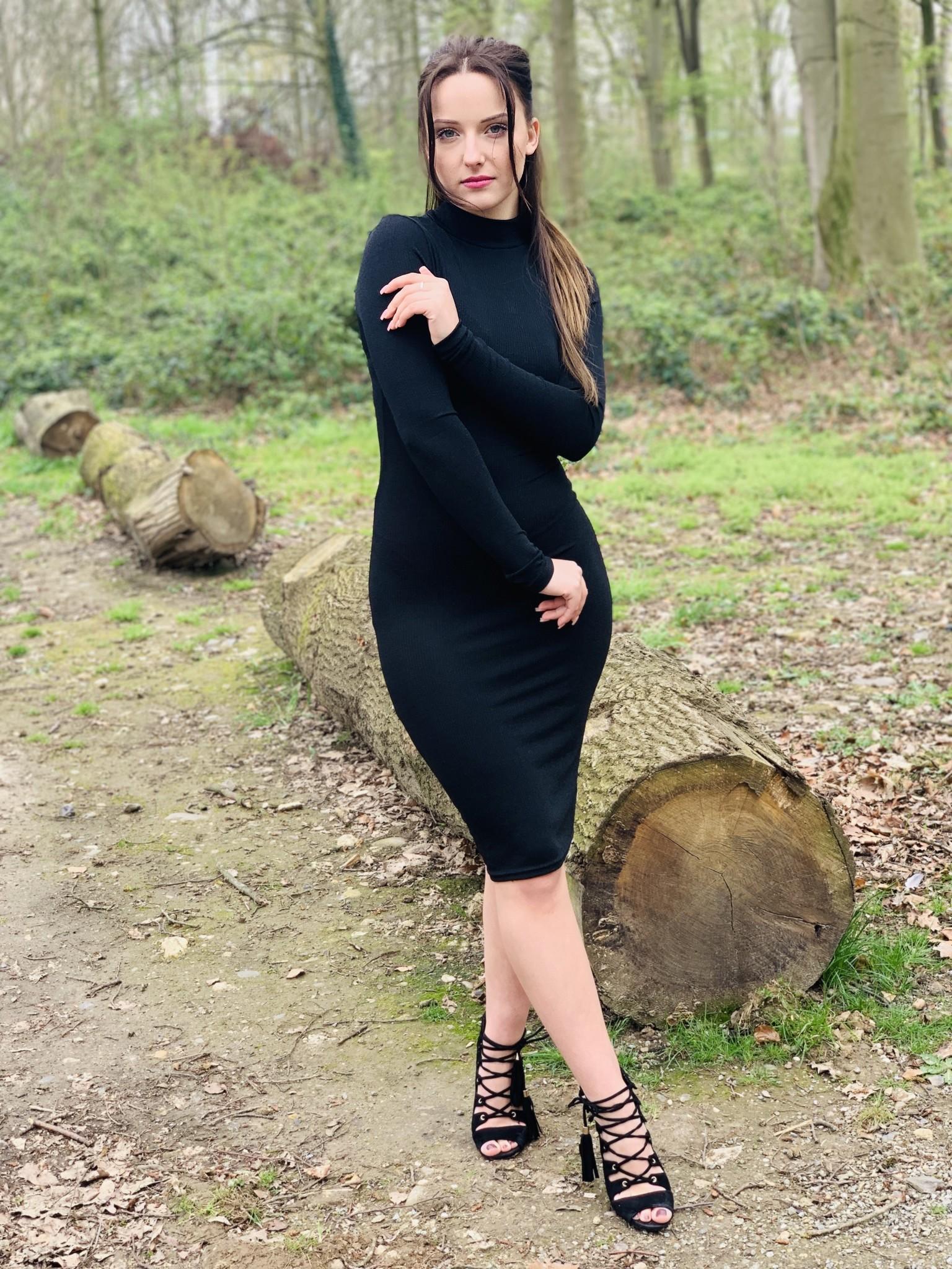 Col Dress Glitter black