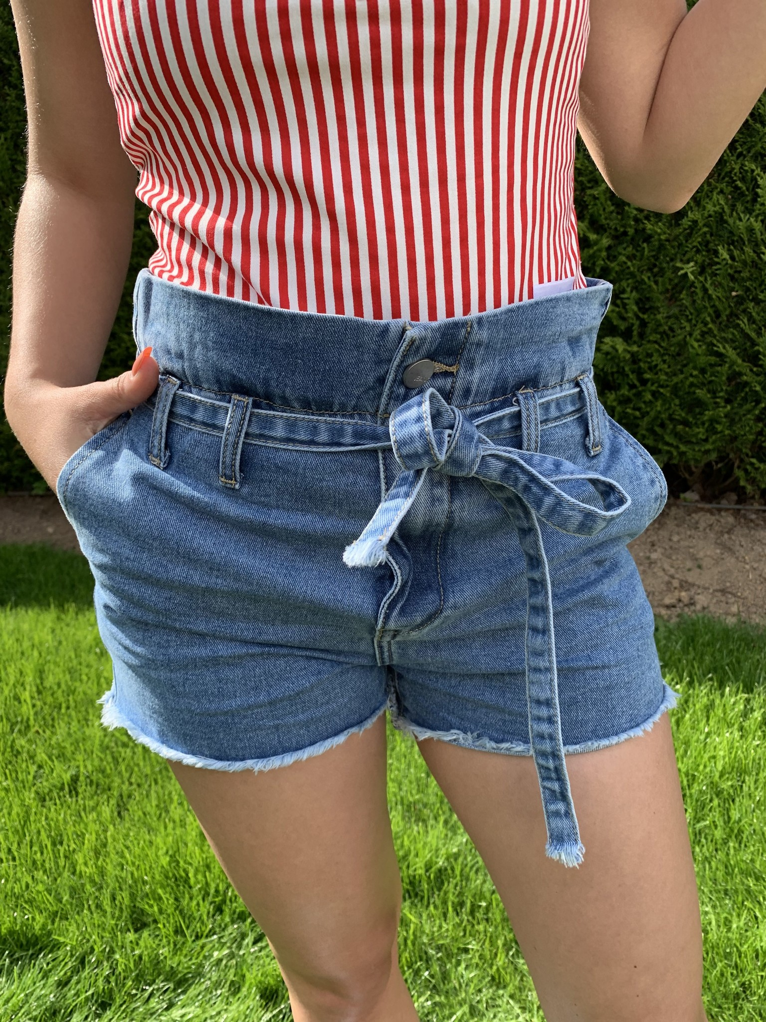 High Waisted Paper Bag Shorts