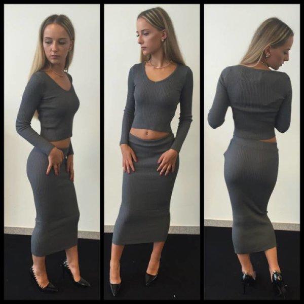 2 Piece bandage Dress Grey