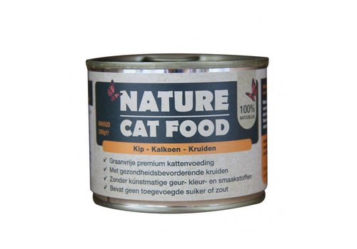 Nature Cat Food Kip, Kalkoen en kruiden 200 gram