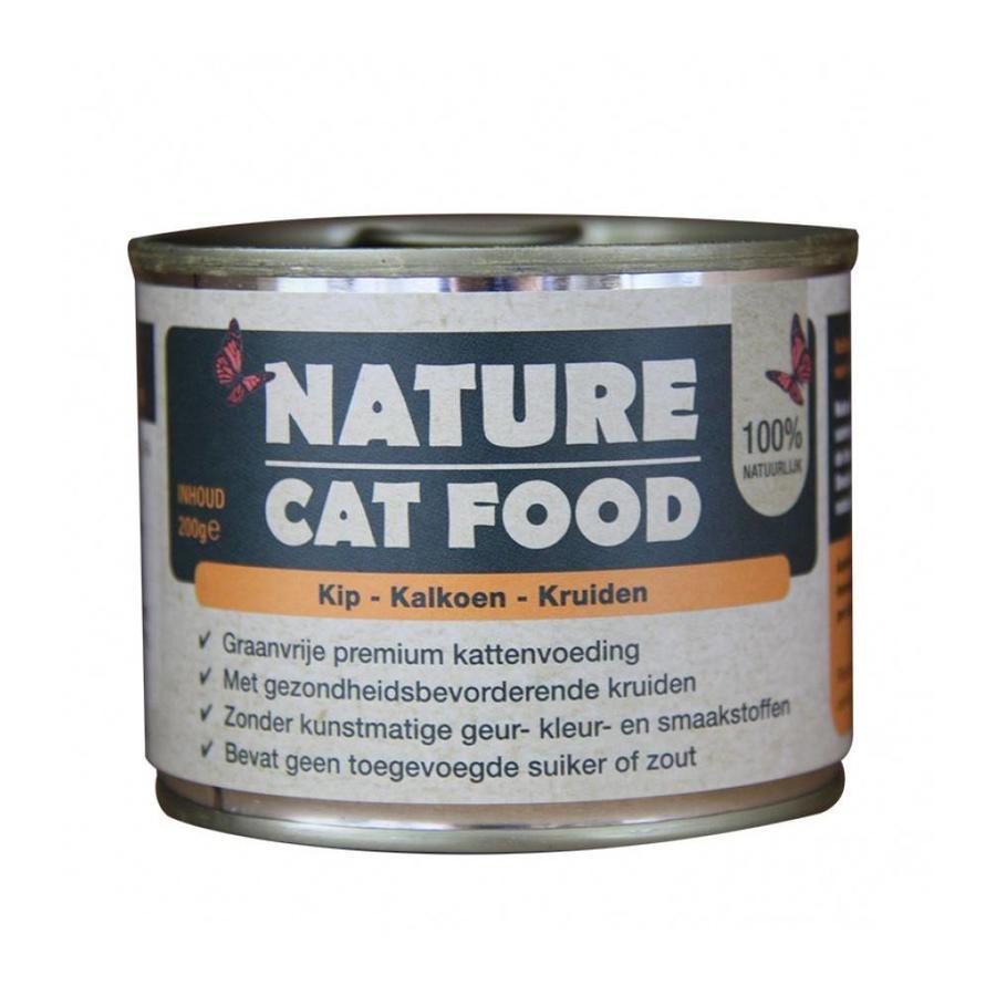 Nature Cat Food Kip, Kalkoen en kruiden 200 gram