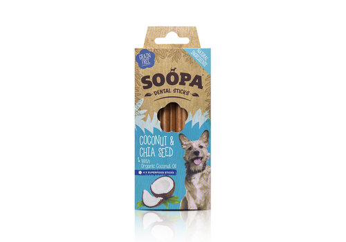 Soopa Dental stick Kokosnoot & Chiazaad 4 stuks