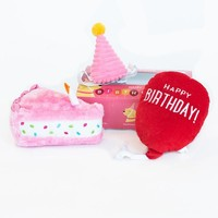 Verjaardagsbox pup roze