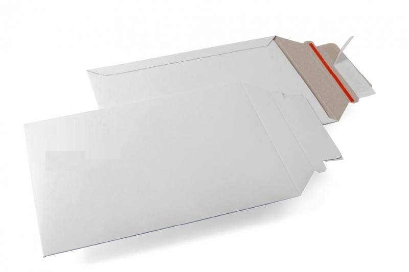 Massief kartonnen duplex envelop 450 gr/m2, Buitenmaat 292 mm x 374 mm Wit, rechte klep, tapelock en red tear-strip 100 st/ds
