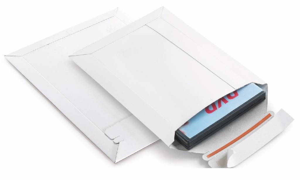 Massief kartonnen duplex envelop 450 gr/m2  Type A3+, Buitenmaat 320 mm x 455 mm Wit, rechte klep, tapelock en red tear-strip 75 st/ds