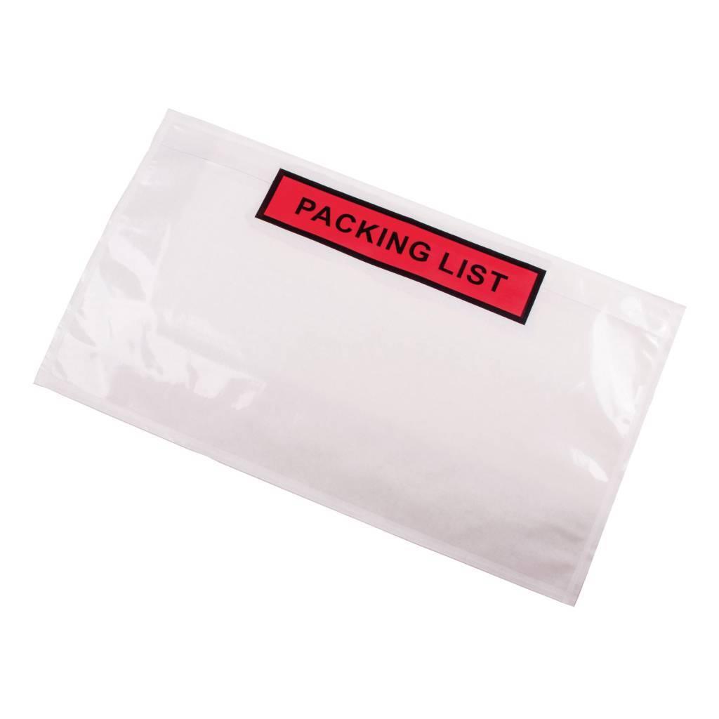 Paklijst enveloppen CoEx type DL geschikt voor een 1/3 A4, Binnenmaat in mm 225 x 122 Bedrukking Packing list 1 doos a 1000 stuks