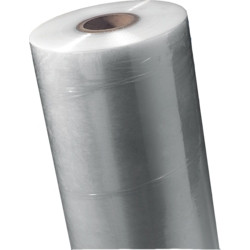 Machinefolie 125 cm x 1.500 mtr, TRANSPARANT 150% rek 23 micron, ca 41 kilo per rol, Kokerdiameter buitenzijde 100 mm en binnenzijde 76 mm prijs per kilo