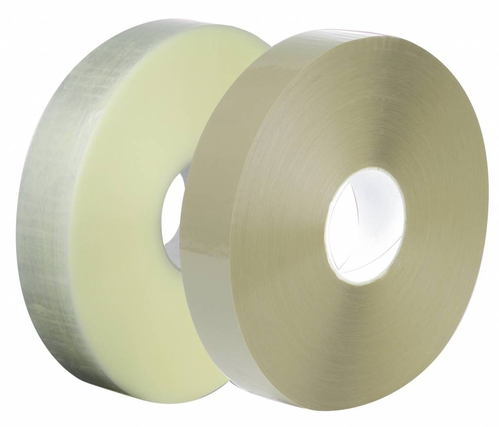 Machine tape PP acryl 28 micron, 990 mtr x 50 mm transparant, 6 rol/ds
