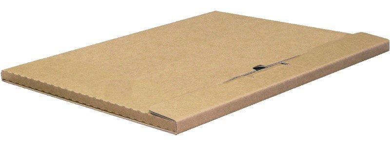 Bruine kalenderverpakkingen 3 panelen, 660mm x 520mm x 10mm, pak van 20 stuks, geplooid in 2, enkele golf (medium), kraft, belastbaar tot 10kg.