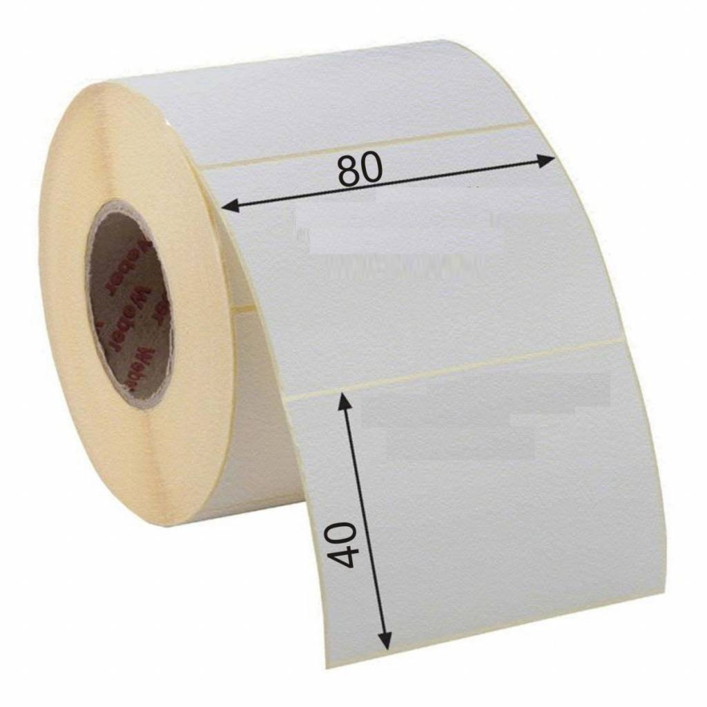 Zebra thermo etiket niet permanent 80x40mm, 1.260 et./rol