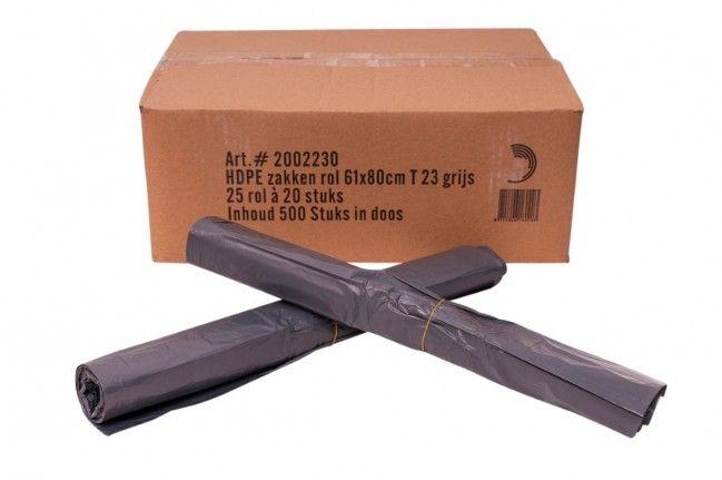 Powersterko Afvalzakken 61x80cm T23 grijs, HDPE. 60 liter Rol 20 stuks (25 rol per doos)