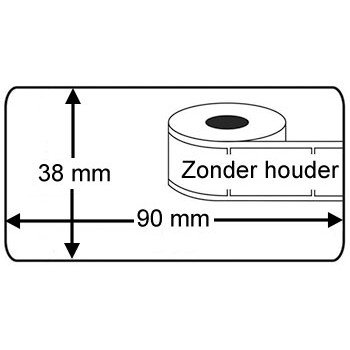 Compatible Brother Brother DK-11208 compatible labels, 38mm x 90mm, 400 etiketten, wit, permanent