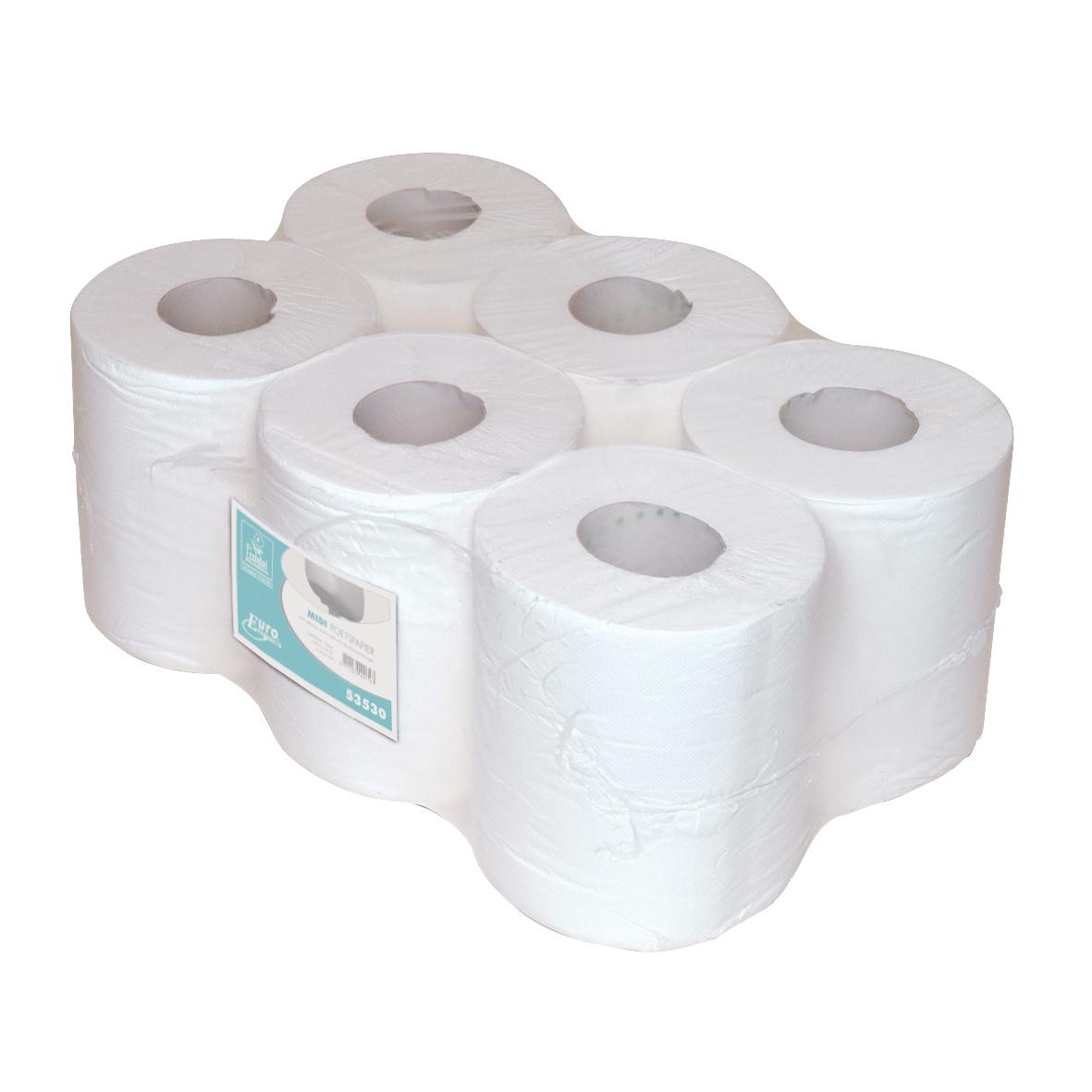 Euro Products Euro P53530 Midi rollen poetspapier 1-laags M 20cm x 300 meter cellulose hoogwit, pak 6 rollen