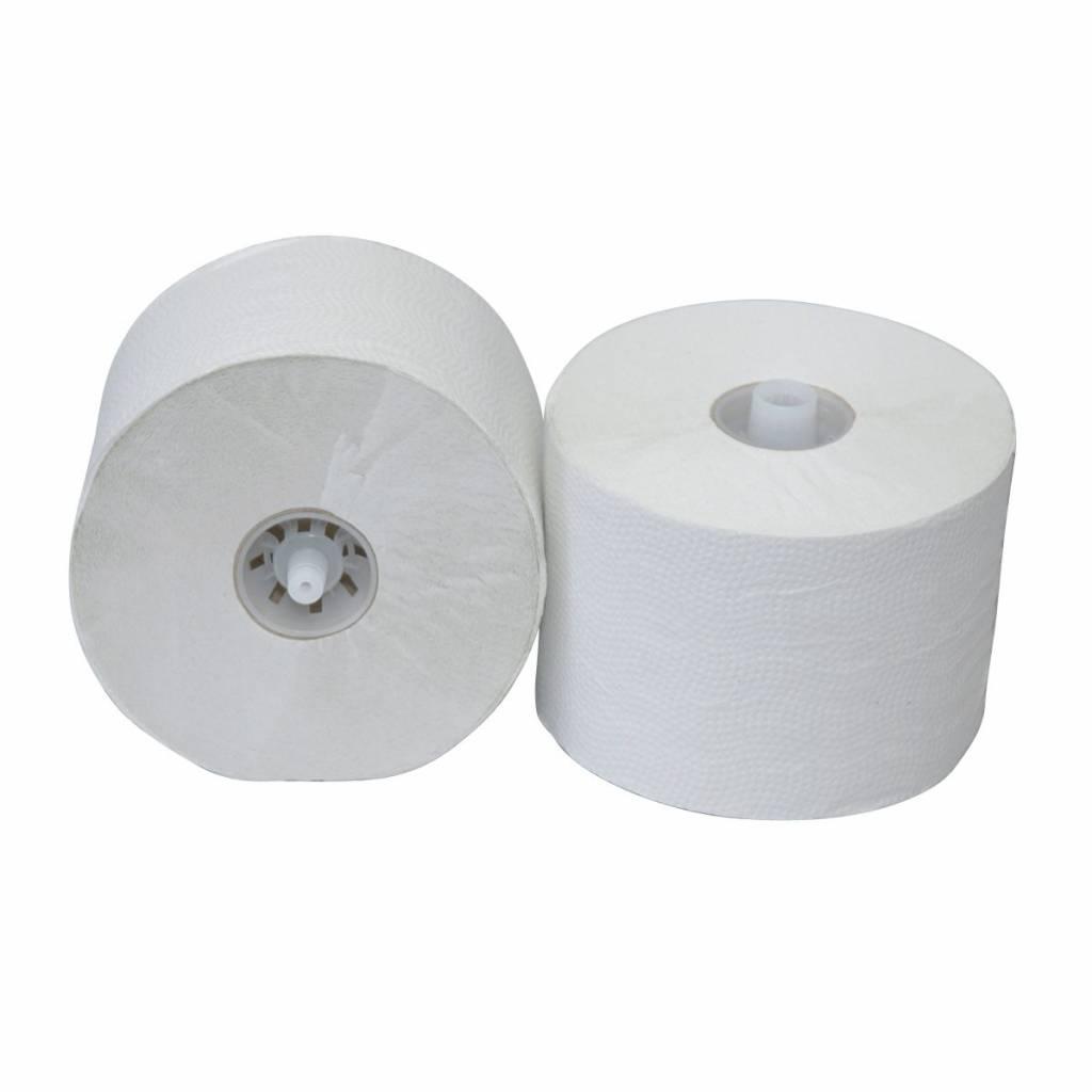Euro Products Euro P50610 toiletpapier met dop - Matic doprollen 2-laags 100 meter luxe crêpe natuurwit, doos 36 rollen