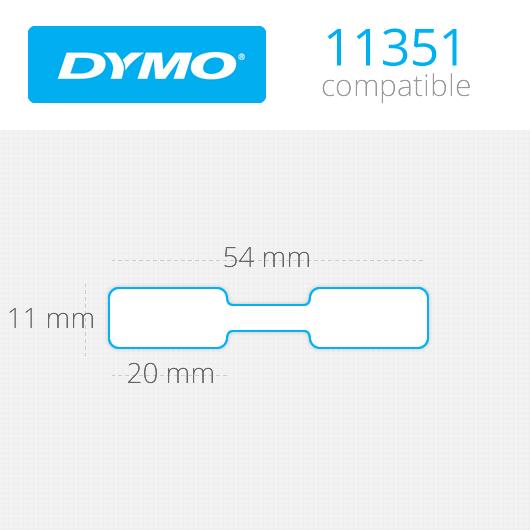 Dymo-compatible Dymo 11351 compatible sieradenetiketten, 54mm x 11mm, 1500 etiketten, blanco, permanent