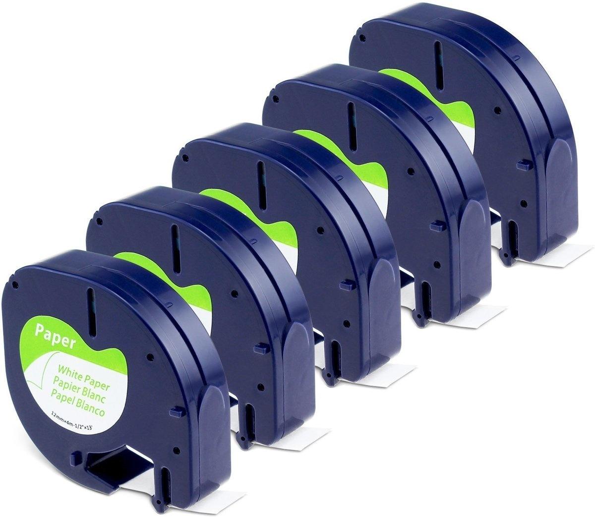 Dymo-compatible Dymo Letratag labeltape 91200 papier 12mm x 4 m zwart op wit
