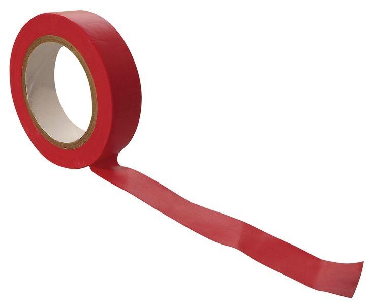 Rode isolerende tape 15 mm en 10 meter per rol voor elektriciteitswerken,  10 rol per pak