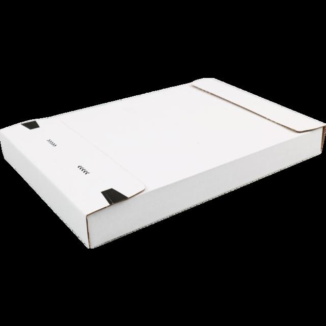 Brievenbusdoosje A5 260 x 170 x 28 mm wit zelfklevende strip, golfkarton
