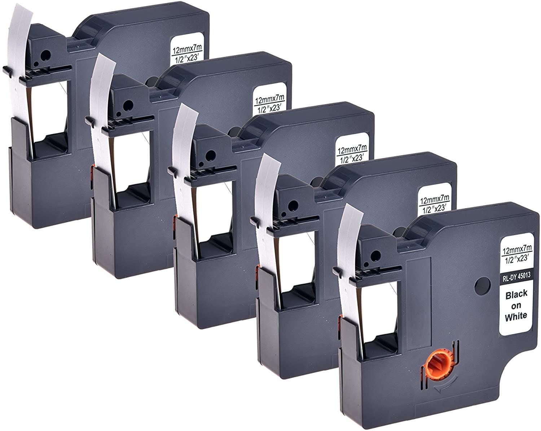 Dymo-compatible Dymo D1 labeltape - 45013 (S0720530) - 12 mm x 7 m - Zwart/wit