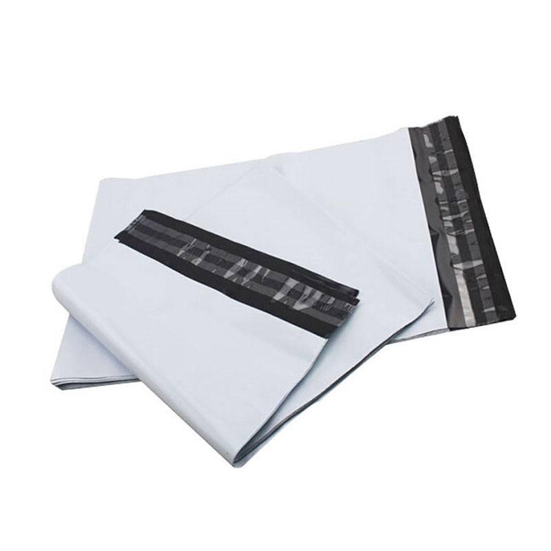 CoEx-LDPE verzendzakken/Webshopbag 450 x 550 + 50 mm buitenzijde wit/ binnenzijde zwart, 55my met kleefstrip 500st/ds