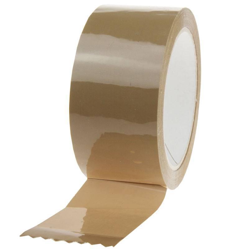 PP acryl tape Noise 66 mtr x 48 mm bruin 25mu verpakking 1 doos a 36 rol