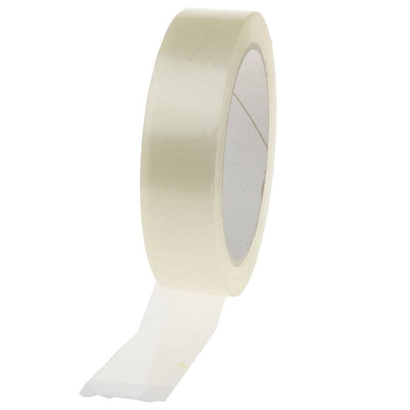 PP Acryl Low Noise tape 66 mtr x 25 mm transparant, 28 micron, 72 rol/ds