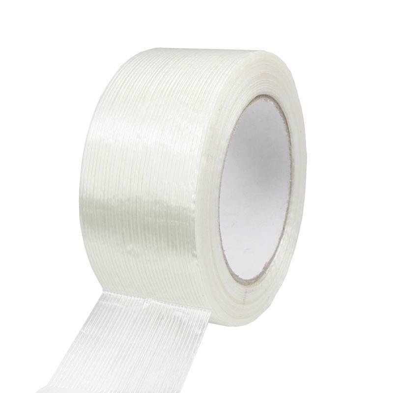 Filament tape lengte versterkt 50 mm x 50 mtr transparant, 18 rol/per doos