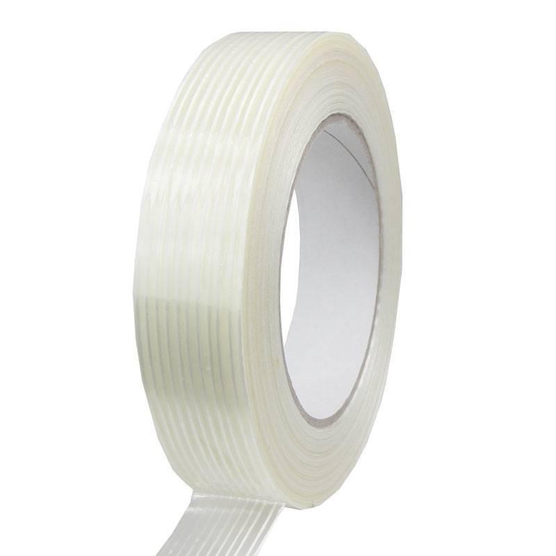 Filament tape lengte versterkt 25 mm x 50 mtr transparant, 36 rol/per doos