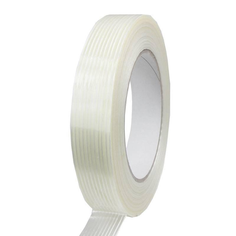 Filament tape lengte versterkt 19 mm x 50 mtr transparant, 48 rol/per doos