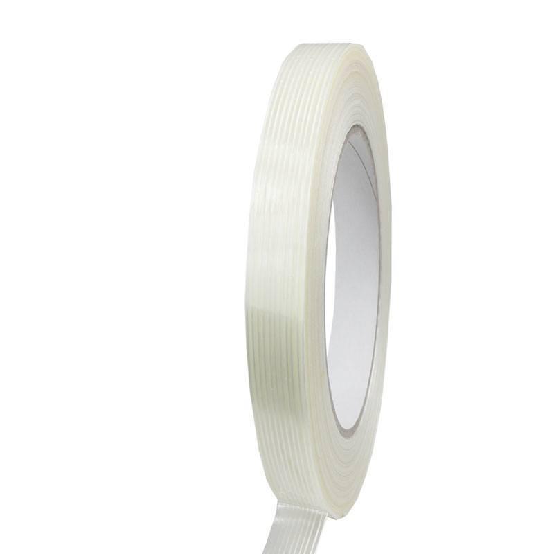 Filament tape lengte versterkt 12 mm x 50 mtr transparant, 72 rol/per doos