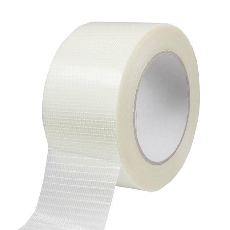 Filament tape ruit versterkt 50 mm x 50 mtr transparant, 18rol/per doos