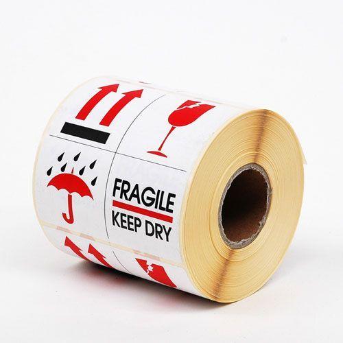 """Waarschuwingsetiketten 80 x 100 mm """"Fragile Keep Dry"""" wit/rood/zwart"""