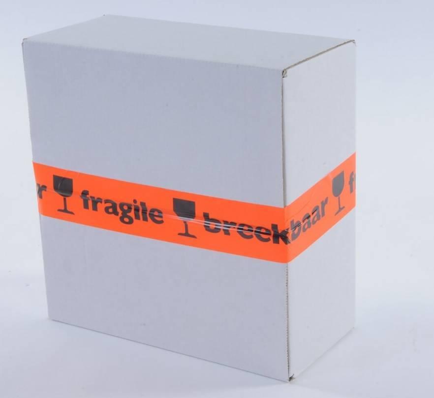 Waarschuwingstape PPLN 48 mm x 66 mtr BREEKBAAR/FRAGILE oranje/zwart 28 micron, 36 rol/per doos