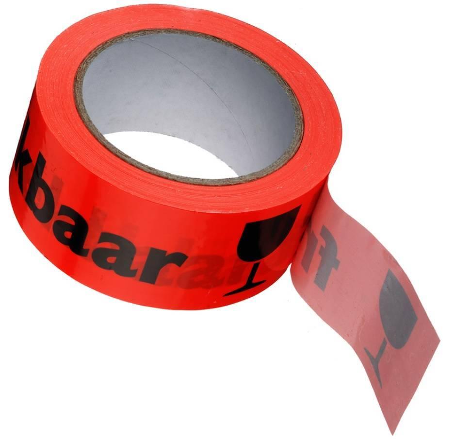 PP Waarschuwingstape 48 mm x 66 mtr BREEKBAAR/FRAGILE fluor oranje/zwart, 36 rol/per doos