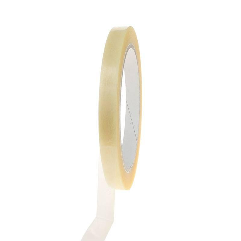 Plakband PVC solvent 66 mtr x 12 mm transparant, 144 rol/per doos