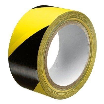 Markeringstape 50mmx33mtr geel / zwart (24 rol per doos, prijs per rol)