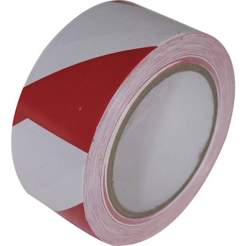Markeringstape 50mmx33mtr rood / wit (24 rol per doos, prijs per rol)