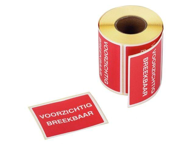 """Waarschuwingsetiketten 80 x 100 mm """"Voorzichtig Breekbaar"""" rood/wit"""