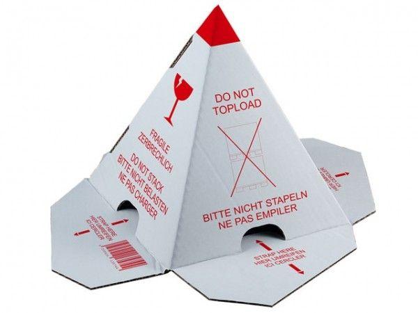 Anti-stapel pallethoedjes360x360x230mm, rood/wit Dubbele golf 100 st/doos