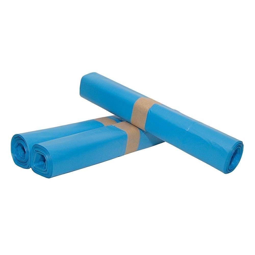 LDPE plastic afvalzakken vlak 70 cm x 100 cm blauw type 50, 200 st/ds