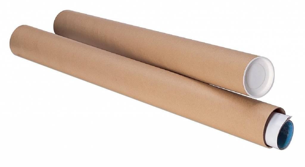 Verzendkoker L470 inwendig L 450 x diameter 60 mm bruin met doppen