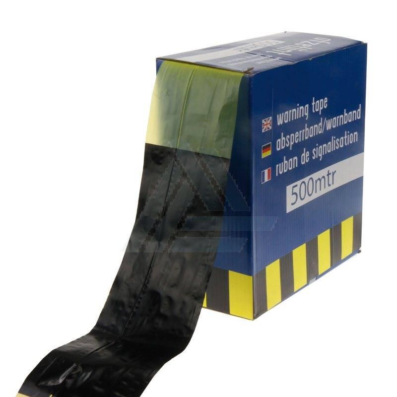 Afzetlint 80 mm x 500 mtr geel/zwart