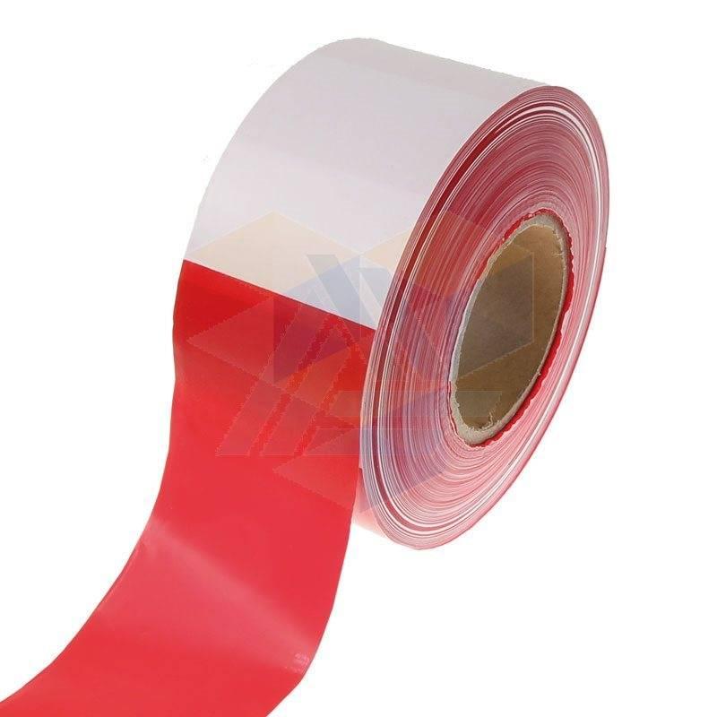 Afzetlint 80 mm x 500 mtr wit/rood
