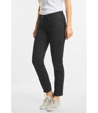 Cecil Black Crinkle Jeans Scarlett - Black Denim