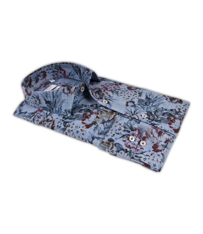 Giordano Shirt with Flowers - Blue