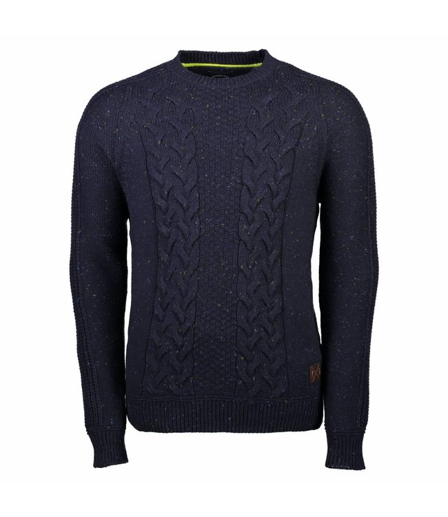 Lerros Pullover with Cable Pattern - Dark Navy